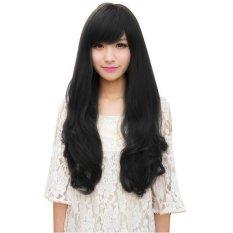 Beli Cocotina Wanita Rambut Panjang Ikal Bergelombang Pesta Cosplay Wig Lengkap Hitam Yang Bagus