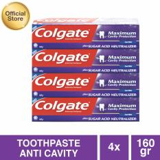 Colgate Maximum Cavity With Sugar Acid Neutralizer Cool Mint Toothpaste/Pasta Gigi 160g - 4 pcs