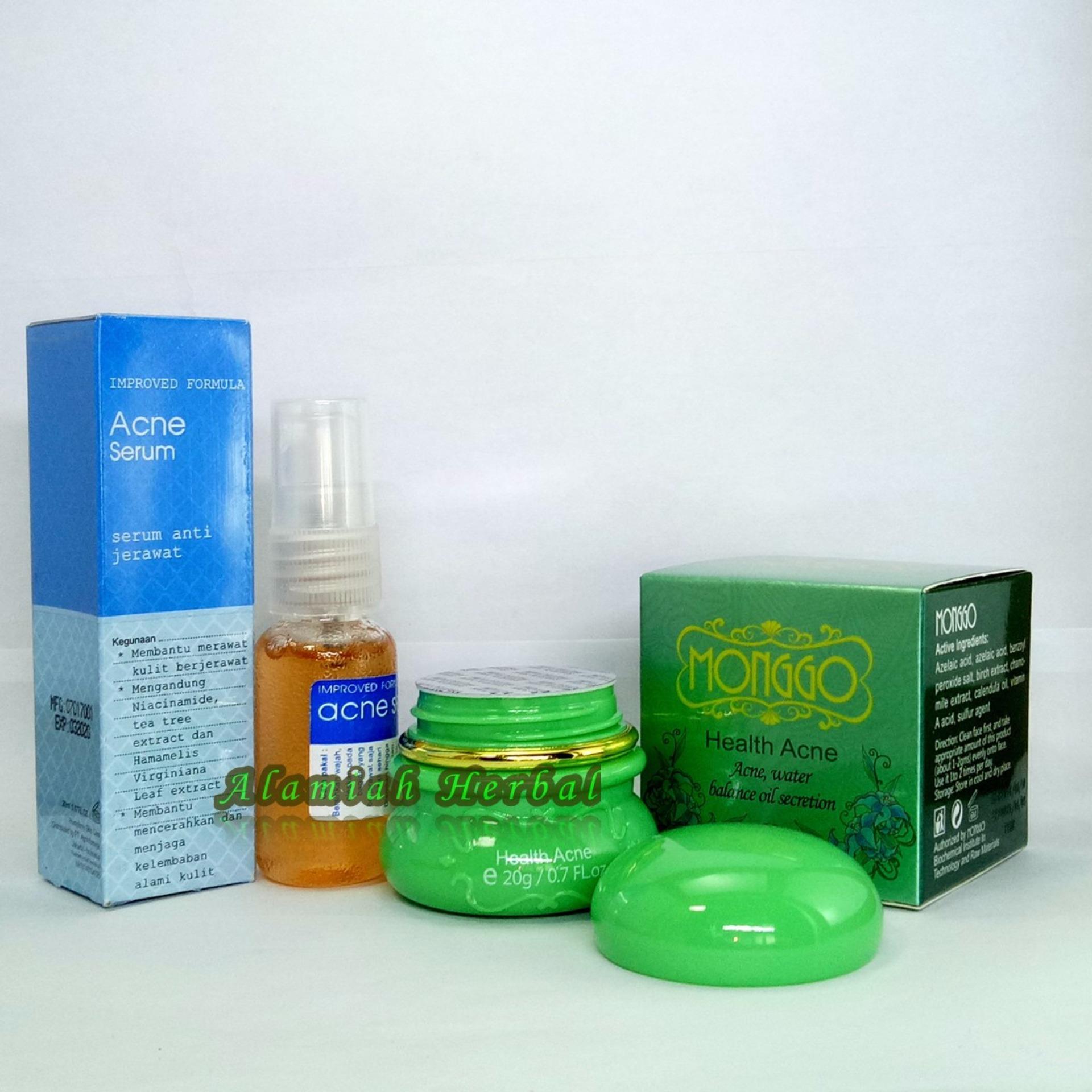 Cream Monggo Health Acne + Serum Anti Acne Biru ( Serum Anti Jerawat)