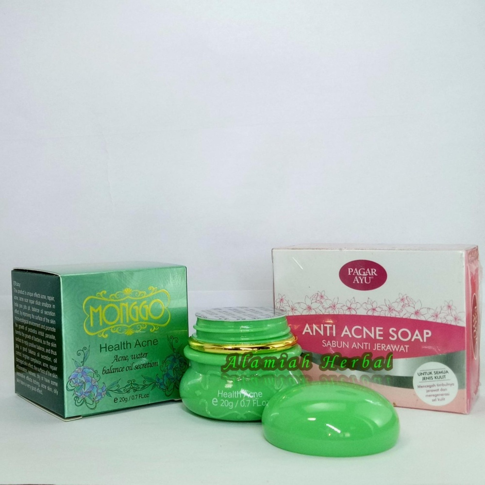 Cream Monggo Health Acne + Sabun Anti Acne ( sabun Anti Jerawat)