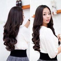 Coklat gelap lebar 25 cm dan panjang keriting dan bergelombang wanita klip-on-y ekstensi rambut yang Trendi - Intl