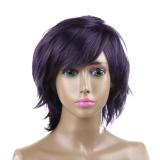 Diskon Produk Dark Purple Women Fashion Gadis Rambut Lurus Pendek Penuh Wig Wig Cosplay Intl