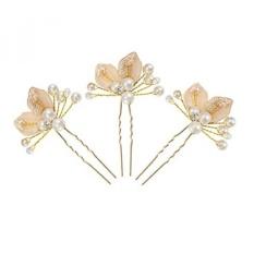 DJ 3 Pcs Daun Emas Handmade Mutiara dan Clear Crystal Bridal Wedding Pin Rambut Klip Aksesoris Kepala untuk Styling Wanita -Intl