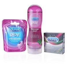 Durex Play Massage 2 In 1 Intimate Lube 200 Ml & Durex Play Vibration & Durex Performa isi 3 pc - Paket Durex Ultimate Performa