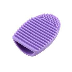 Pembersih Telur Sarung Tangan Cuci Brush Scrubber Board Cosmetic Brush Egg (ungu Muda)-Intl