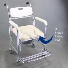 Orang Tua dan Wanita Hamil Paduan Aluminium Toilet Duduk Tahan Karat Roda Mandi Pancuran Kursi Pasien Duduk Toilet (O Bentuk) -Internasional