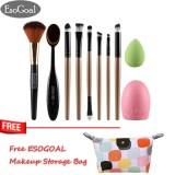 Jual Esogoal 10 Pcs Makeup Eyeshadow Brushes Set Foundation Brush And Cleaning Telur Sikat Gigi Powder Puff Essential Make Up Tools Kit Untuk Penggunaan Profesional Dan Pribadi Intl Lengkap
