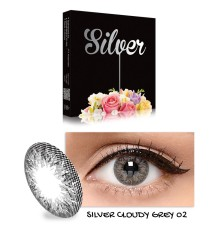 Exoticon X2 Ice Silver Softlens - Cloudy Grey + Gratis Lenscase