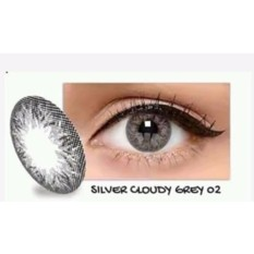 Exoticon X2 Ice Silver Softlens + Free Lenscase - Silver Cloudy Grey 02