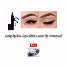 Eyeliner Super Black 0.4mm Tip Waterproof - Black + Free 1 Pcs Polkadope Ikat Rambut