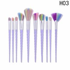 Fancyqube 10 Kuas Kosmetik, Unicorn Spiral Makeup Alat, Kecantikan Thread, Sikat Berbentuk Kipas, GUJHUI Rhyme H03-Intl