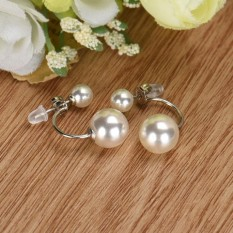 Fashion Crystal Berlian Imitasi Perhiasan Wanita Telinga Anting Stud Double Mutiara-Internasional