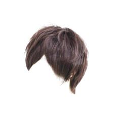 Pria Yang Mengenakan Wig Pendek Fashion Netral Penuh Coklat Gelap (dan Bebas Siaran Langsung Video Live Streaming *) Mulai Mengenakan Wig Cosplay-Intl