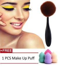 Fashion Sintetis Rambut Sikat Gigi Oval Besar Makeup Brush Powder Foundation Bedak Blush Concealer Multi-Fungsi Kurva Berbentuk Kosmetik Makeup Gigi-Internasional