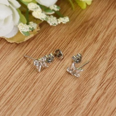 Fashion Wanita Sterling Perak Crystal Rhinestone Pearl Telinga Anting Perhiasan-Intl
