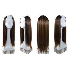 Fashiondeal Women Straight Weft Synthetic Hair U Part Lace Wig Lifelike Human Hair - intl