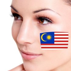Bendera Malaysia Facial Tattoo Temporary Tattoo Body ArtFlashTattoo Stiker Air Transfer Removable Tatoo StickerColorful-Intl