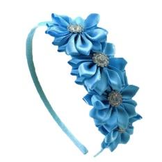 Bunga Rhinestone Headband Pita Satin (Biru)-Intl