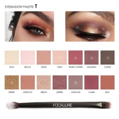 FOCALLURE 14 Colors Pearlized Color Eyeshadow Powder Eye Shadow Palette Set - intl