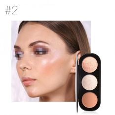 FOCALLURE 3 Color Blush Highlighter Bronzer Palette Contour Shadow Powder Face Makeup Powder #2