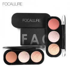 FOCALLURE 3 Color Blush Highlighter Bronzer Palette Contour Shadow Powder Face Makeup Powder #2 - intl