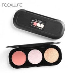 FOCALLURE 3 Color Blush Highlighter Bronzer Palette Contour Shadow Powder Face Makeup Powder #3 - intl