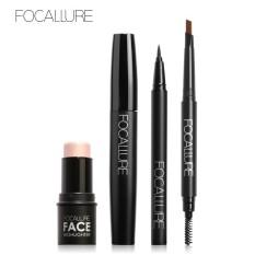 FOCALLURE 4 Pcs Makeup Set dengan Pigmen Tinggi Highlighter Cream Hitam Volume Mascara Eyeliner Pen dan Alis-Intl