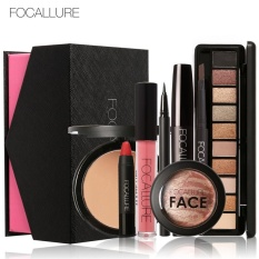 FOCALLURE 8Pcs Cosmetics Makeup Set Powder Eye Makeup Eyebrow Pencil Volume Mascara Sexy Lipstick Blusher Tool Kit for Daily Use 02 - intl