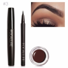 FOCALLURE Pro 3 Pcs Mata Penggunaan Riasan Harian Hitam Eyeliner Maskara dan Alis Cream 03-Internasional