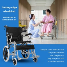 Folding Medical Wheelchair 16 inch Manual Mobility Aid Light Weight 4 brakers - intl