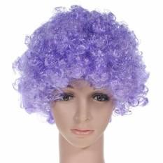 Sepak Bola Kostum Kipas Keriting Pesta Halloween Disco Pelangi Afro Wig Badut Rambut # Ungu-Intl