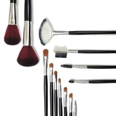 Full Face Eye Lip Brows 13 Piece Essential Cosmetics Makeup Gift Brush Set and Organizer Storage Case inc. Taklon Blending, Conc