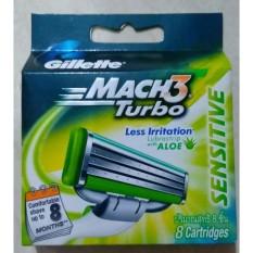 Beli Gillette Mach3 Sensitive Turbo Isi 8 Refill Nyicil