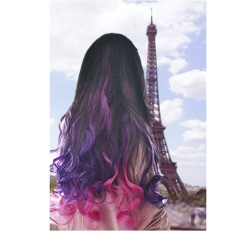 Girl's Wave Curly Clip Hair Piece Colorful Gradient Ombre Hairpieces Extension Rose-Ungu Tua-Internasional