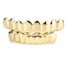Review Gold Silver Plated Custom Hip Hop Teeth Grillz 8 Top Bottom Grill Teeth Mouth Gold Intl Di Indonesia