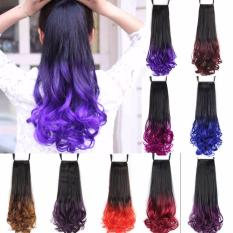 Hair Extensions 20 inch Long Curly Natural Hairpieces Colorful Ombre 5 Clip long ponytail hair Extensions for Women - intl