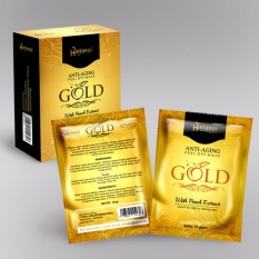 Hanasui Gold Mask Naturgo Peel Off Mask With Extract Peach Anti-Aging BPOM - 1 Box Isi 10 Sachet