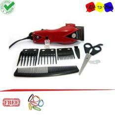 Happy King HK-900 Alat Cukur Rambut Hair Clipper Trimmer Mesin Potong Professional Groomer 3 Mata Pisau Tajam Dan Hemat Energi - Merah + Ikat Rambut Klik to Buy 1pcs