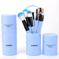 Kesehatan Kecantikan Sikat dan Aplikator 12 Pcs Makeup Brushes Eyeliner Bubuk Kontur Concealer Eye Shadow Foundation Lip Sikat Alis Mata Set Cylinder Make Up Tools-Intl