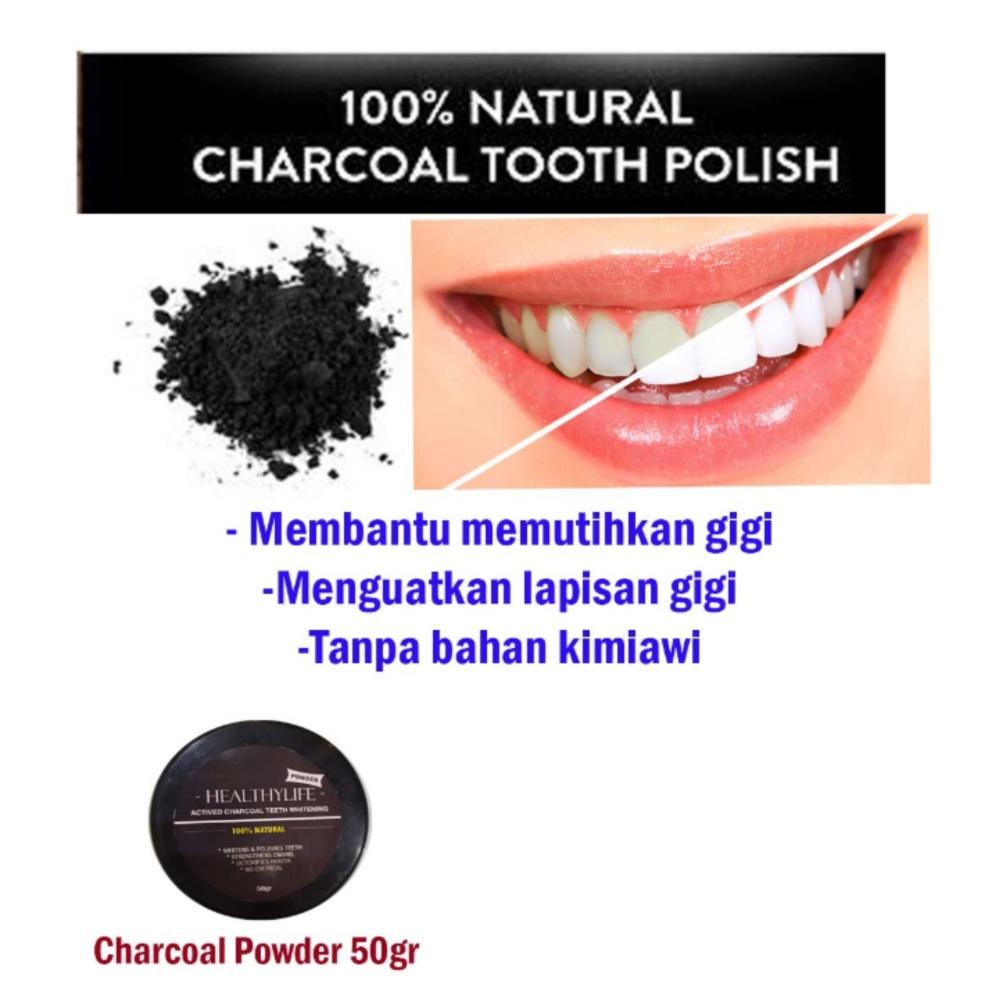 Healtylife actuved charcoal powder whitening teeth 50gr bubuk arang aktif pemutih gigi