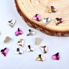 Bentuk Hati Nail Berlian Perhiasan Kuku DIY Nail Tips Bentuk Hati Dekorasi-Intl