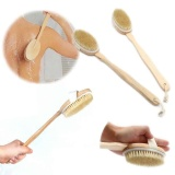 Model High End New Arrival Natural Bulu Alami Kayu Panjang Brush Wooden Tubuh Massager Bath Spa Shower Scrubber Terbaru