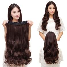 Klip Hight kualitas Store baru 60 CM klip dalam ekstensi rambut manusia sintetis keriting panjang berombak rambut 5 Cokelat