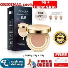 HOKI COD - [03] LIGHT SKIN - Bioaqua Exquisite and Delicate BB Cream Air Cushion Pack Gold Case SPF 50++ Foundation Make Up Wajah + Free Refill + Gratis Cetak Alis Cantik - Premium