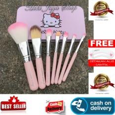 HOKI COD - 7 Pcs Kitty Mini Makeup Brush Set Premium Quality Bulu Halus + Gratis Cetak Alis Cantik - Premium
