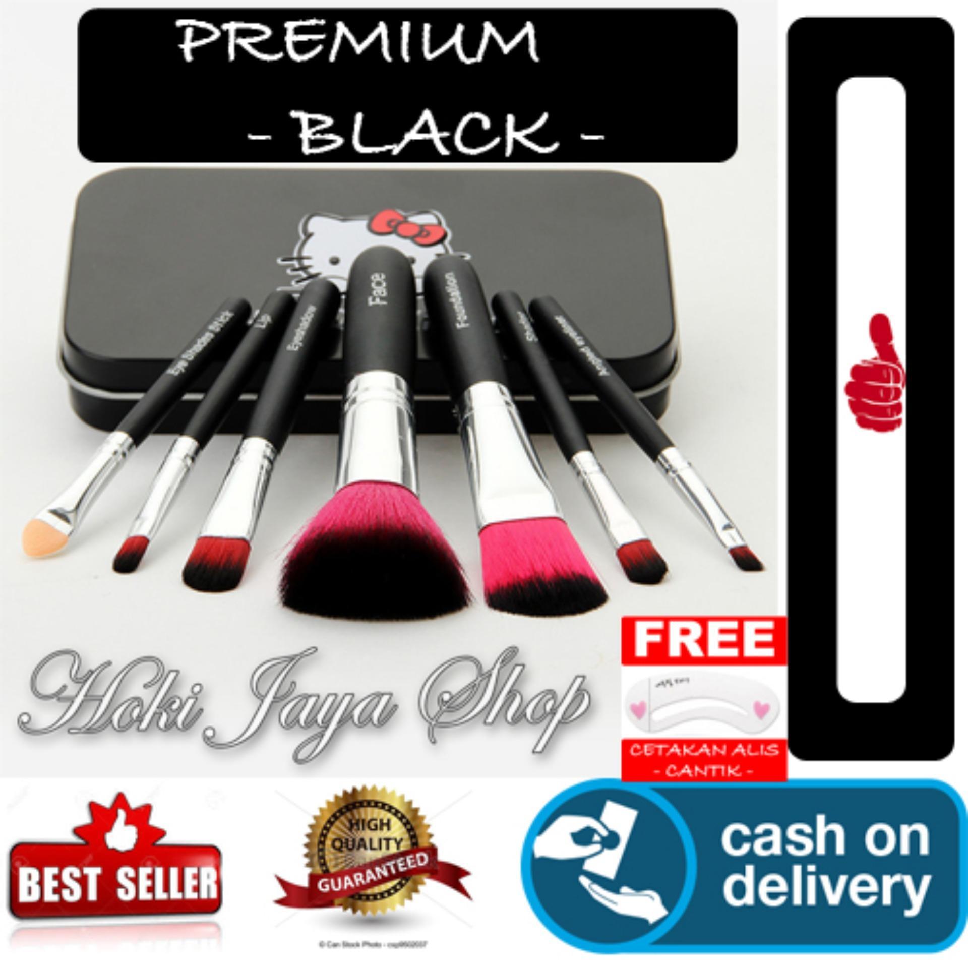 Praktis dan Mudah Dibawa Bepergian HOKI COD - Beautylover 7 Pcs Kitty Mini Makeup Brush Set - Black Limited Edition +