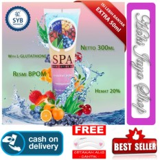 HOKI COD - Body Spa Rainbow Fruitamin Spa Gel By Syb BPOM Exfoliating With Glutathion Bodyspa - 300 ml + Gratis Cetak Alis Cantik - Premium