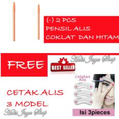 HOKI COD - Davis Eyebrow Pensil Alis -2 Pcs - HITAM dan COKLAT FREE Cetak Alis 3 Model