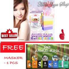 HOKI COD - Gluta Fruitamin Soap By Pretty White Thailand + Vitamin / Sabun Fruitamin ORIGINAL BPOM - 1 Pcs FREE SNP Animal Mask Premium Quality  - 1 Pcs
