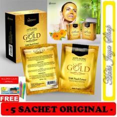 HOKI COD - Hanasui Gold Anti-Aging Feel Off Mask Gold - Masker Emas - Masker Gold - Gold Mask - 5 P